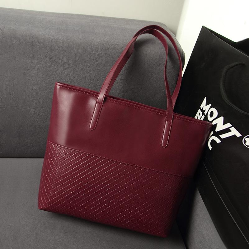 Vintage knitting handbags large high quality PU leather women's shoulder shopping bags ladies Totes big bolsas Free shipping(China (Mainland))