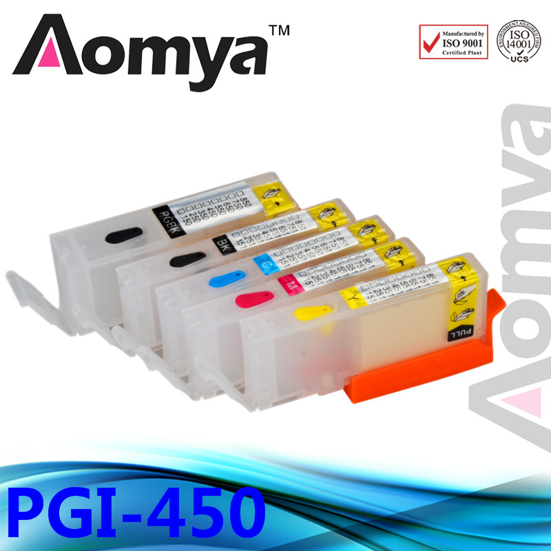 Full Ink Cartrdige PGI450/CLI451 With chip refillable cartridge for Canon PIXMA MG5440/ iP7240/ MG6340 printer