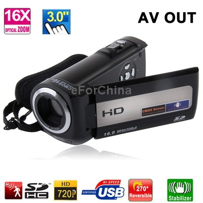 HD-777 Black, HD 720P 5 Mega Pixels 16X Digital Zoom Anti Shake Digital Video Camera with 3.0 inch TFT Touch Screen