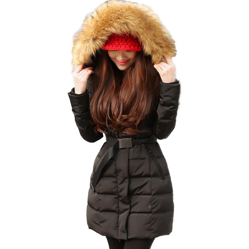 Hot! New 2015 Women fashion plus size Winter Warm women slim Fur collar Lady long thick jacket coat Hood BL754