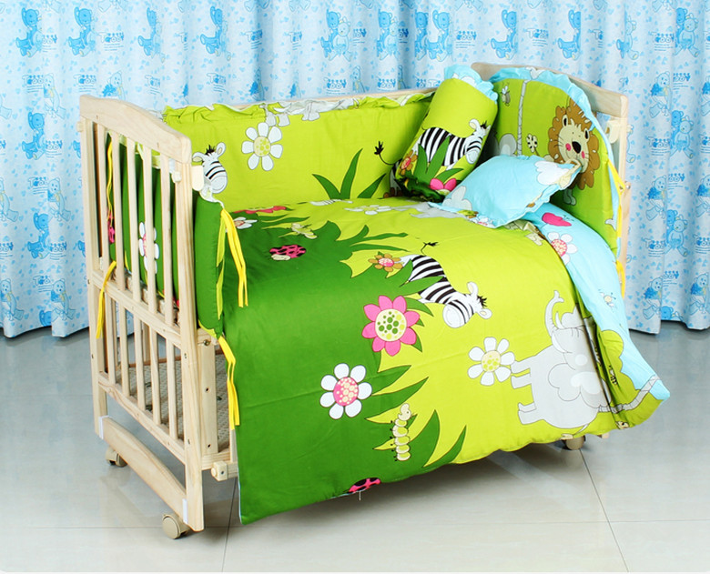Фотография Promotion! 10PCS Forest Baby Crib Bedding set for boys cot set bed kit Blue Applique Embroidery (bumper+matress+pillow+duvet)