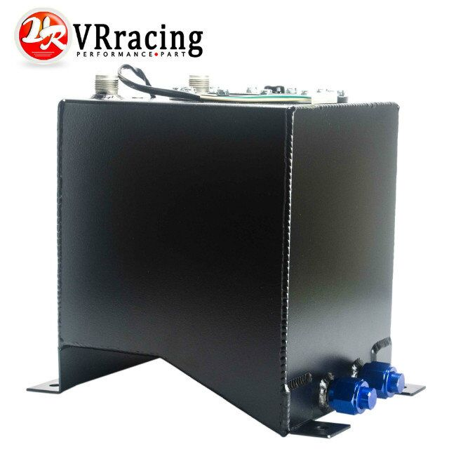 VR RACING STORE-BLACK 10L Aluminium Fuel Surge tank Fuel cell with sensor foam inside PQY-TK38BK(China (Mainland))
