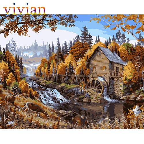Frameless picture MS8456 autumn waterwheel paint number kits unique gift home decor vi284 DIY digital oil painting - Online Store 812502 store