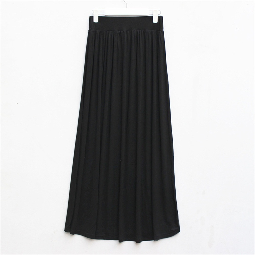 Women's Long Soild Pleated Causal Party Wedding Skirt --Blue Black Red Gray(China (Mainland))