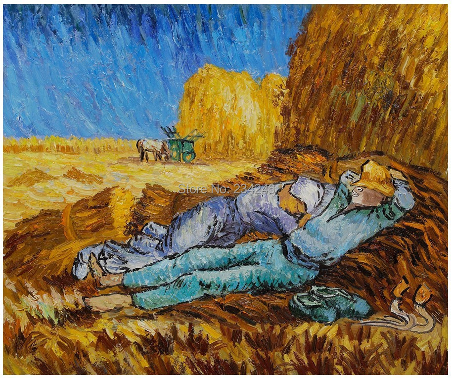 Handmade Van Gogh's Painting Replica Noon: Rest from Work Landscape Oil Painting on Canvas for Home Decor Impressionist(China (Mainland))
