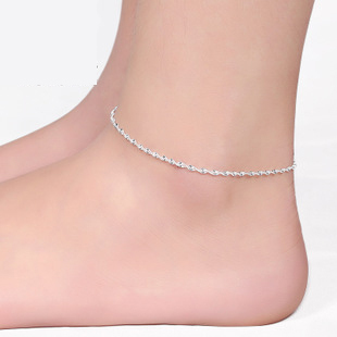 Ankle chain bracelet foot silver plated anklets Elegant water wave anklet Twisted rope tornozeleira for women