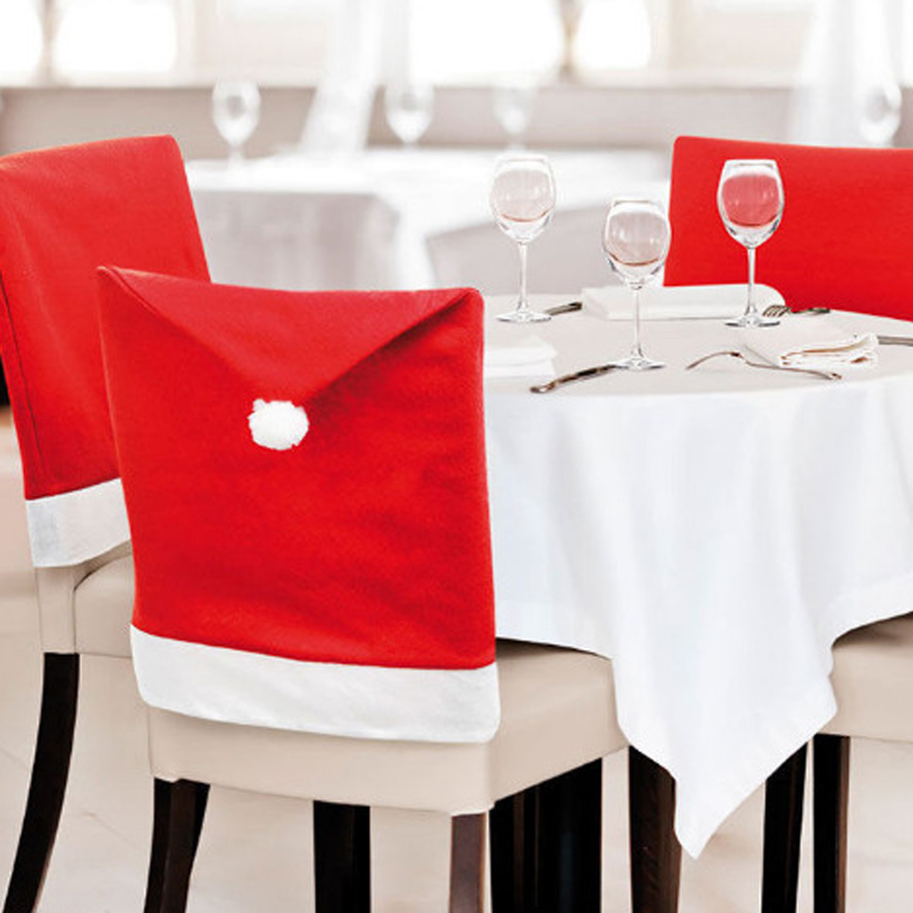 Diy christmas chair covers - Santa Red Hat Chair Cover Christmas Home Party Diy Decorative Dinning Tableware Decorations Christmas Supplies Accessories