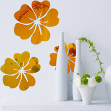 Buy DIY Hibiscus Flower Mirror Decorative Wall Sticker Home Decor 3D Wall Decoration Room Decals Mural J2Y for $3.33 in AliExpress store