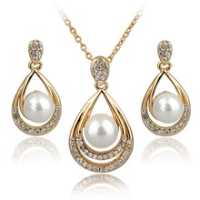 Fashion Jewelry Sets 18k Real Gold/Silver Plated Rhinestone Jewelry Sets Necklace Earrings Pearl Set For Women SET140029(China (Mainland))