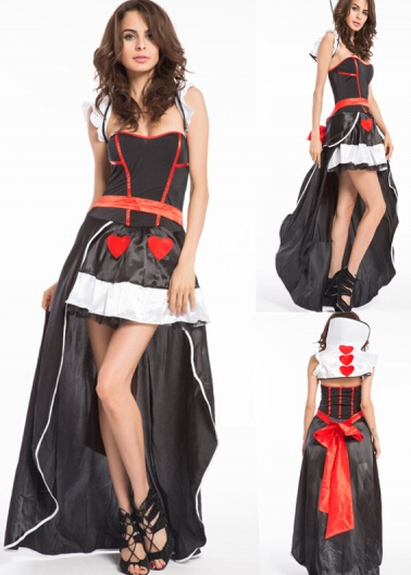 & s/2xl 8563 queen of heart costume with crown черное боди kendra l xl