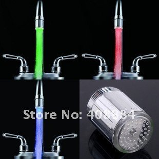 three color Temperature controlled LED Faucet Light Water sensor Glow Shower