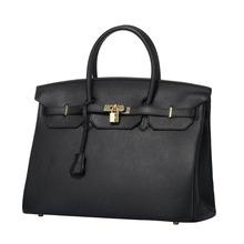 40 CM femmes Litchi grain cuir véritable sac en cuir véritable sacs à main femme Vintage sac à main marques dames épaule Top sacs de poignée(China (Mainland))