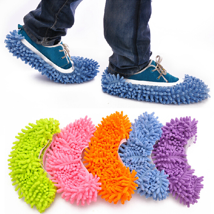 7 Colors 1pc Helpful Dust Mop Slipper House Cleaner Lazy Floor Dusting Cleaning Foot Shoe Cover(China (Mainland))