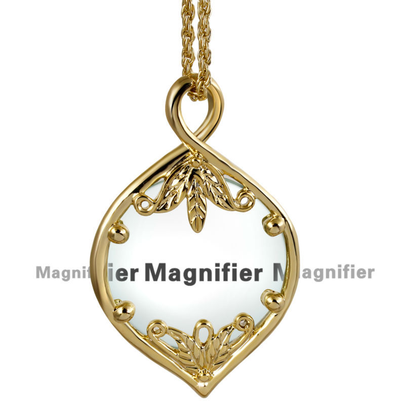 DC1989 New Concept Women Necklace With Magnifying Glass Pendant Reading Purpose Fashion Nice Looking Convenient 18K Gold Plated(China (Mainland))