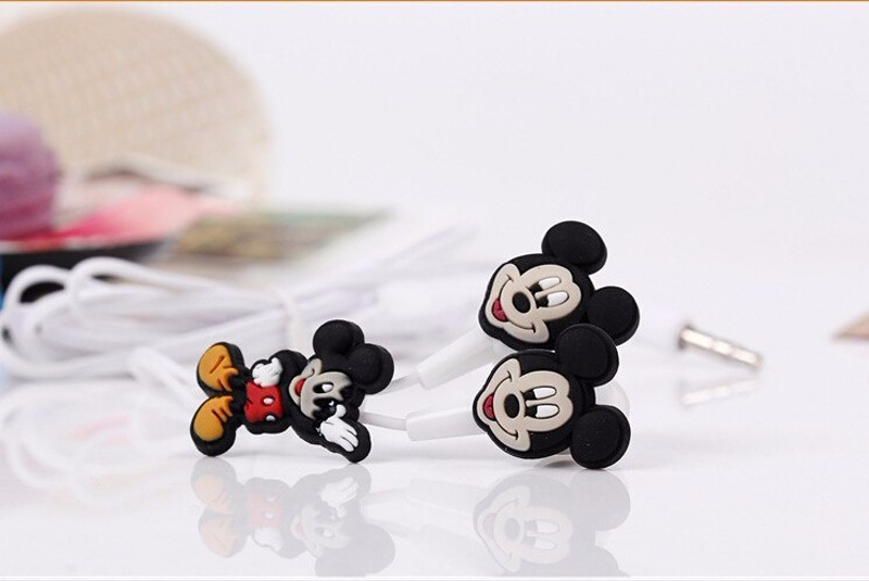 Cartoon Mickey Mouse 3.5mm In-ear earphones Headsets Cute Minnie Earphones for iPhone Cellphone Mp3 For iPad Mini High Quality