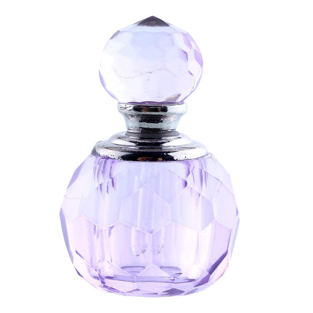 Retro Vintage Mini Crystal Refillable Bottle Purple Cut Perfume Bottle Glass Gift(China (Mainland))