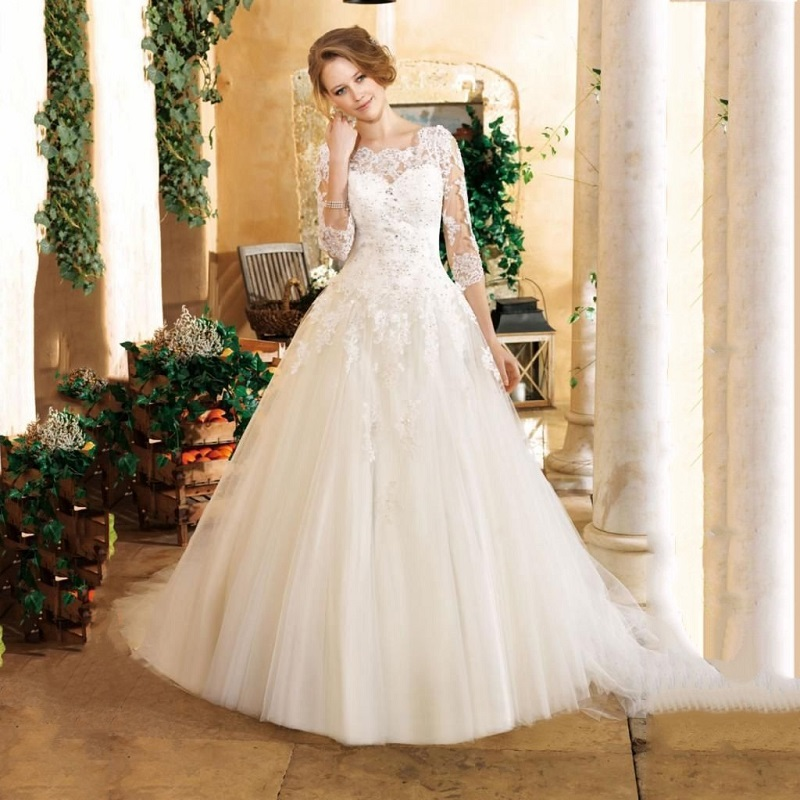 Buy sexy lace wedding dress plus size for Boat neck lace wedding dress