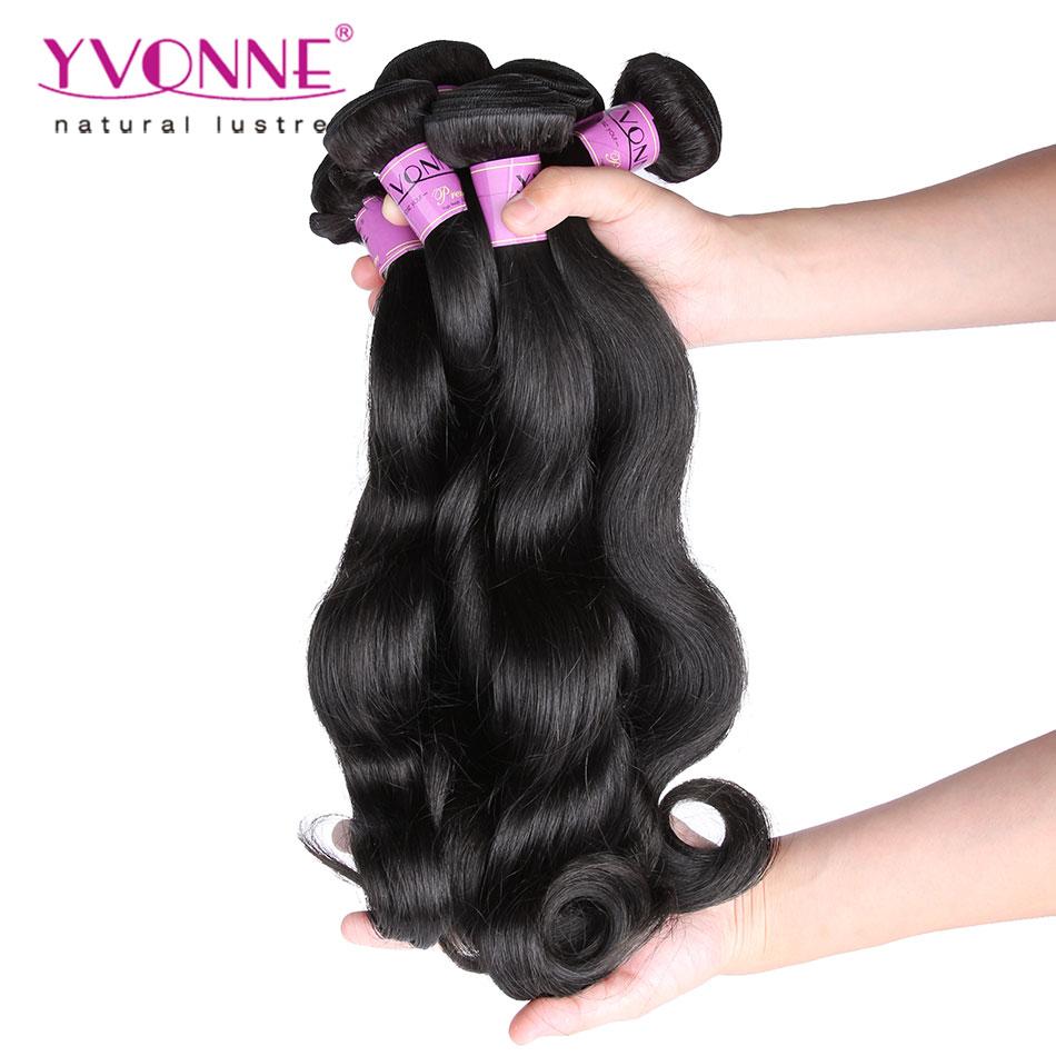 4 Bundles Body Wave Malaysian Virgin Hair,100% Human Hair Extension,Aliexpress Yvonne Unprocessed Hair,Natural Color 1B
