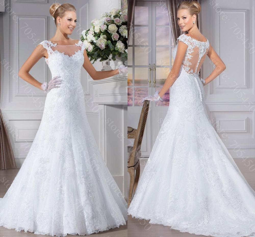 Buy elegant wedding dress vestidos de for See through wedding dresses