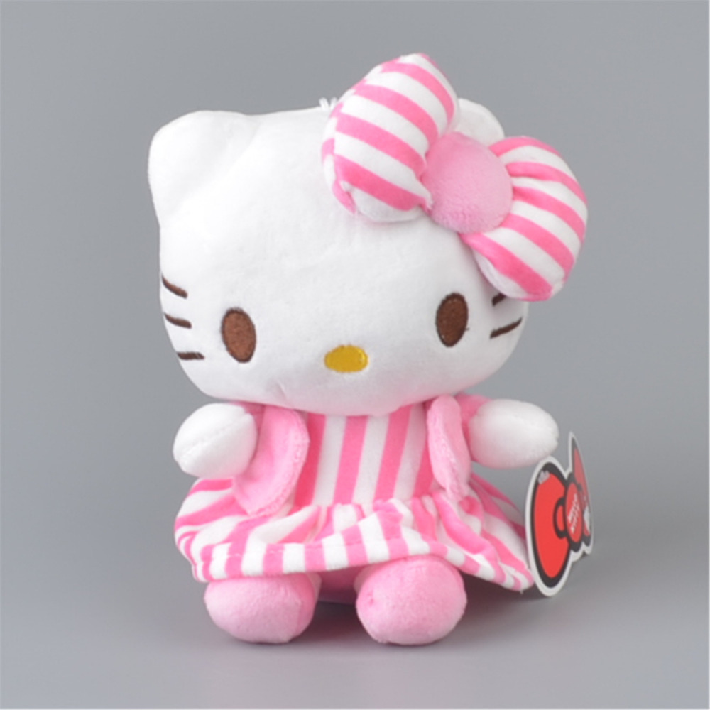 Stripe Skirt Hello Kitty Stuffed Plush Toy, Baby Kids KT Doll Gift Free Shipping(China (Mainland))