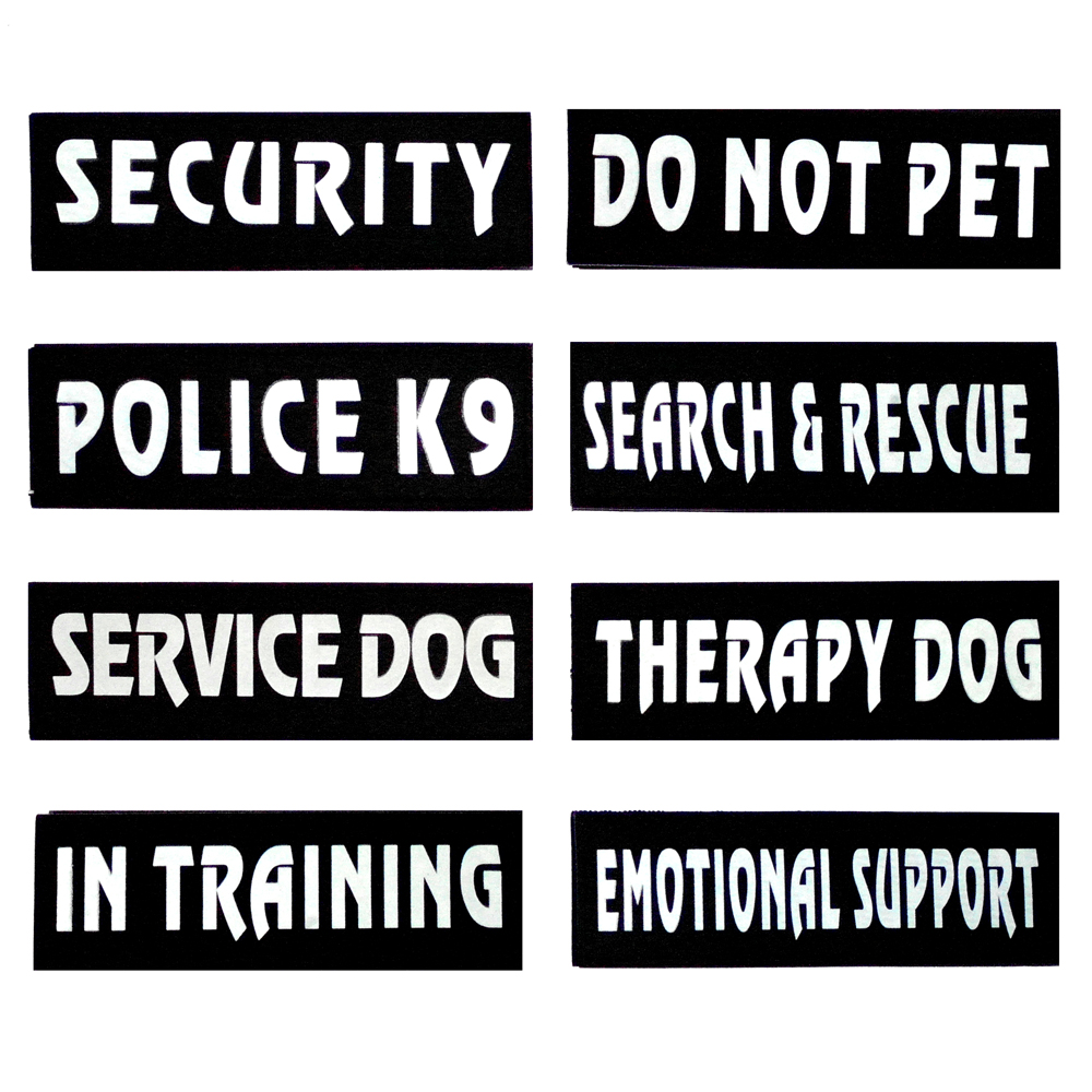 Set of 2 Service Dog Reflective Patches For Dog Harnesses Vest 8 Different Types(China (Mainland))