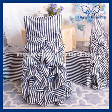 CH003H1 wholesale 100% polyester ruffled striped wedding black and white gathered chair cover(China (Mainland))