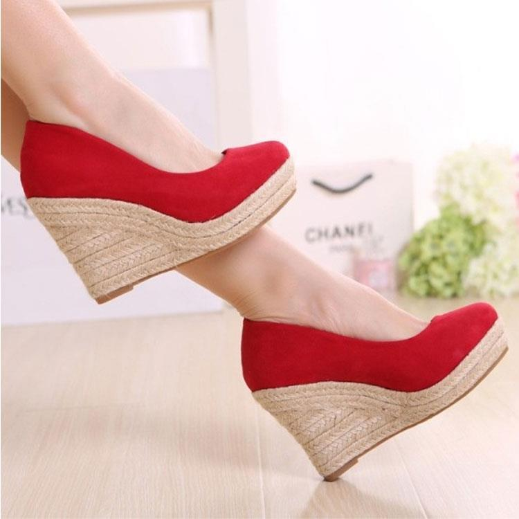 High-heels shallow mouth platform foam bottom red wedding shoes  womens wedges thick heel sheos<br><br>Aliexpress