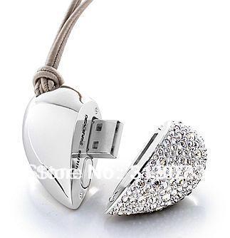 Free shipping 2GB 4GB 8GB 16GB 32GB 64GB Heart Jewelry USB Flash Disk