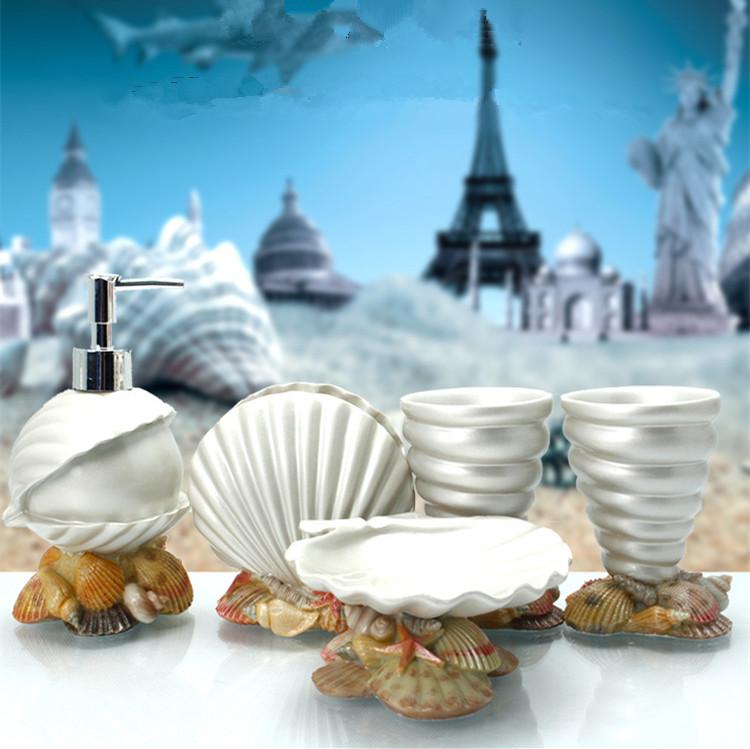 Luxury Bathroom Accessories Set Five Pieces White Conjunto Banheiro New Ocean Bathroom Products Luxury Bathroom Accessories Set(China (Mainland))