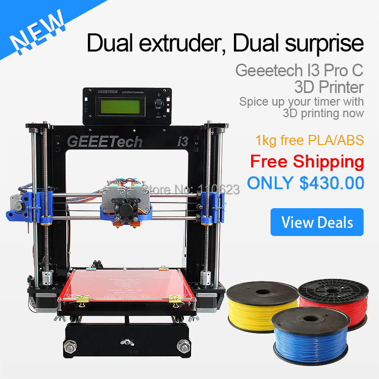 Dual Extruder Double Heads Reprap 3D Printer Prusa I3 Two-color Printing High Resolution Impressora LCD 1KG Filament Gift(China (Mainland))