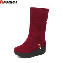 2016 grandes szie 32-50 invierno nieve botas de punta redonda de las mujeres talón plano de lentejuelas sólidos slip-en mitad de la pantorrilla botas de plataforma caliente zapatos(China (Mainland))