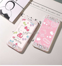 Hello Kitty Cartoon Tempered Glass Premium Screen protector 3D Full Coveraged Case For Iphone 6 6s Plus retail package 50pcs/lot