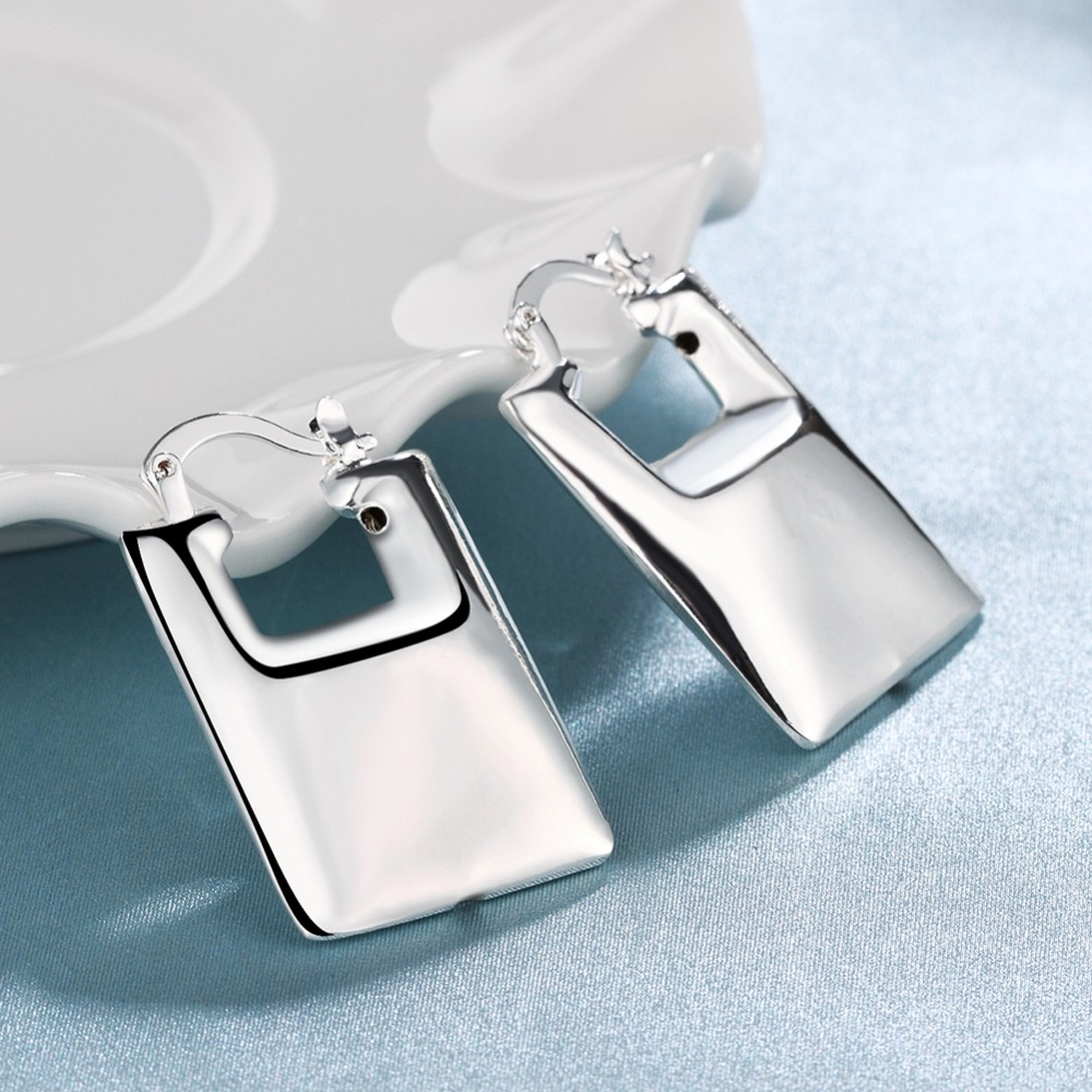 Free Shipping Hot 2015 silver plated earrings for women rectangle clip pendientes jewelry display SMTE709(China (Mainland))