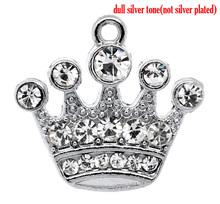 DoreenBeads Silver Tone Rhinestone Crown Charm Pendants 21x20mm,1 pc(China (Mainland))