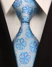 NT0313 Blue Floral New Man s Jacquard Woven Silk Polyester Tie Classic Business Wedding Fashion Luxury