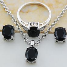 Black onyx 925 Sterling Silver Jewelry set Pendant Earrings Ring Set Size 5 6 7 8 9 10 11 12 TT12(China (Mainland))