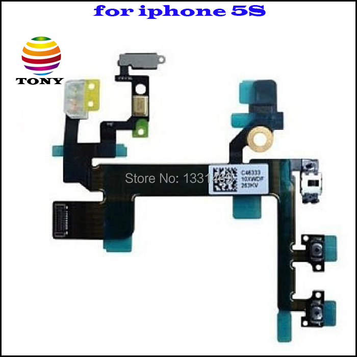 10PC 100% Original Power Mute Volume Button Switch Connector Flex Cable Ribbon iPhone 5S Free Shiping - Tong store