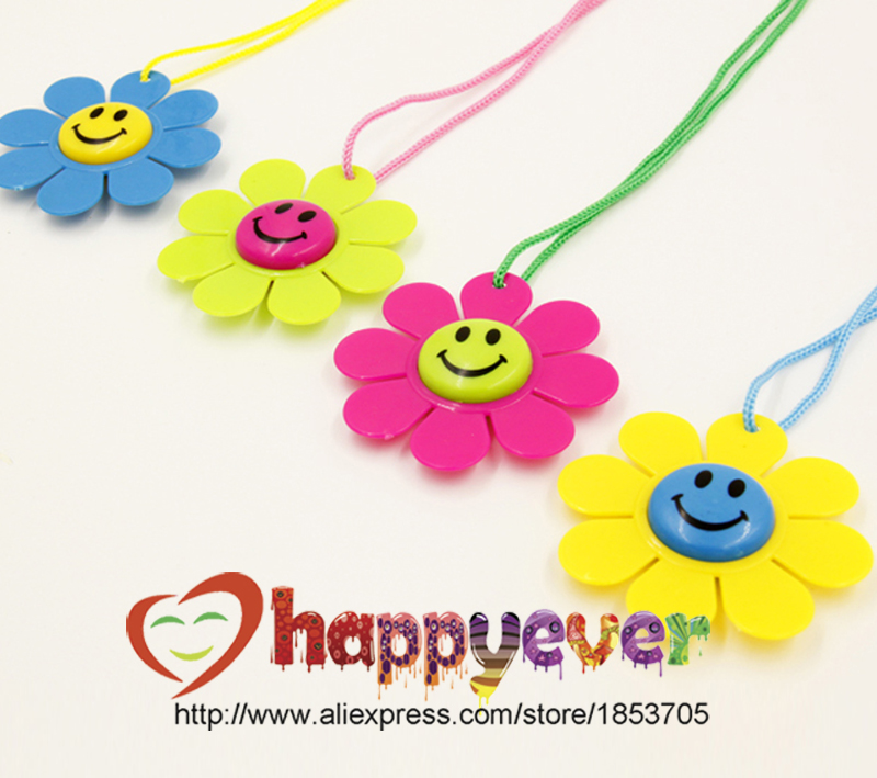 12PCS Smiling Face Flower Fancy Award Medals Kids Party Favor Necklace Pinata Fillers Toy Game Winner Prize Goody Bag Birthday(China (Mainland))