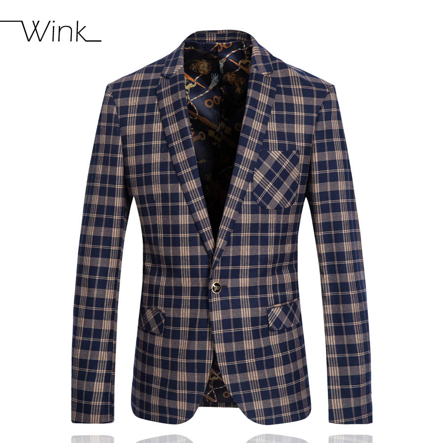 Luxury Wool Suits Blazer For Men Single Button Wedding England Style Plaid Coat Slim Fit Men Formal Nice Suit Jackets Navy E347Одежда и ак�е��уары<br><br><br>Aliexpress