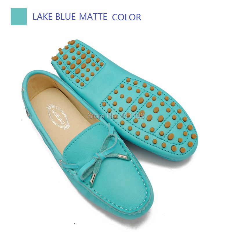 2014 FALL Women genuine leather shoes Moccasins  F960 lady soft driving BOW lace up Loafers flats fashion lake blue mate 4colors<br><br>Aliexpress