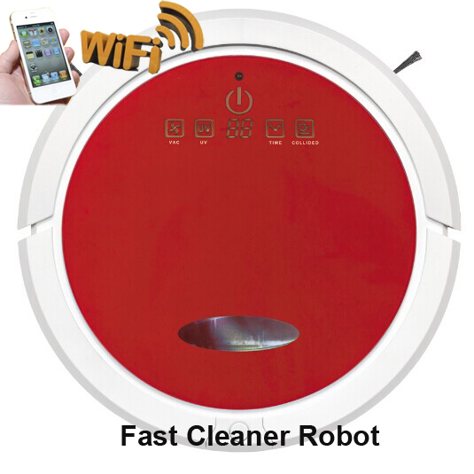 WIFI Smartphone APP Control Robot Vacuum Cleaner With big 2600mah Lithium Battery,Wet and Dry Mopping(China (Mainland))