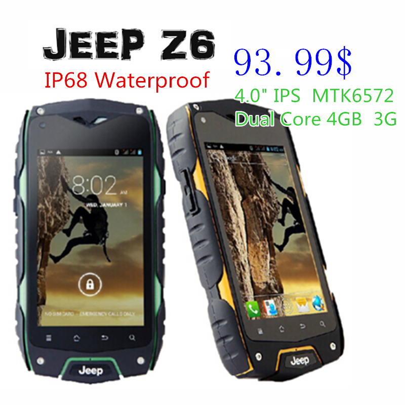 Big GIFTS! Original Jeep Z6 Z6+ Android Smartphone Waterproof MTK6582 Quad Core 1.3GHz 1GB RAM 4GB ROM 5.0MP GPS WCDMA ZUG 3(China (Mainland))