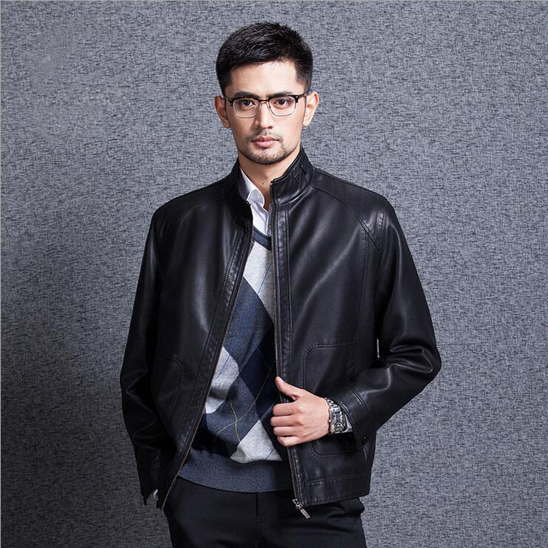 High Quality Autumn/Winter Leather Jacket Men Stand Collar Thick Coat Men veste cuir homme Large Size Casual Male Jackets#5188