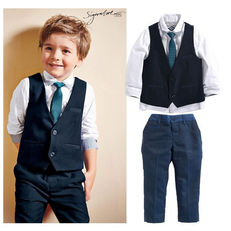 Toddler Clothing Boys Gentleman Wedding Clothes Cotton Kids Clothes Vest Shirt Jeans Suits Children Baby Boy Clothing Sets(China (Mainland))