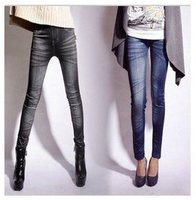 Women Stretch Stonewash Denim Jeans Skinny Leggings Pencil Pants Trouser