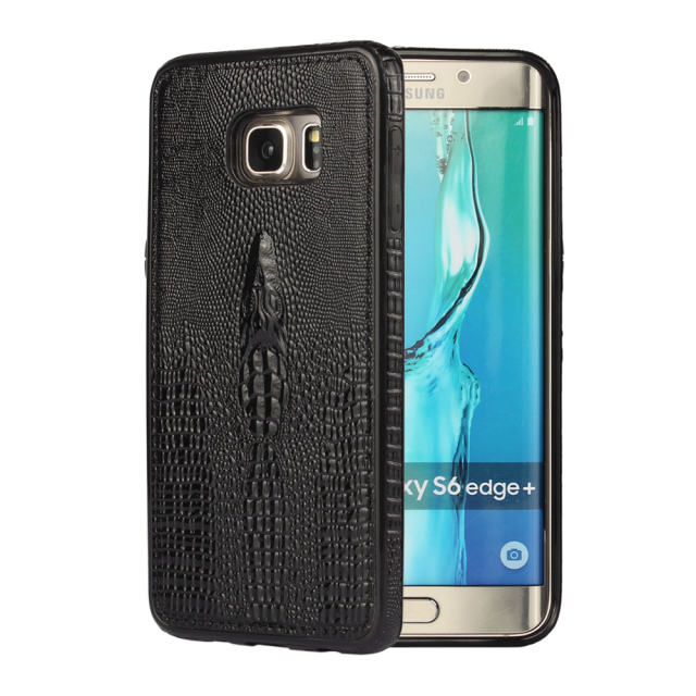 Luxury 3D Crocodile head pattern soft Crocodile skin Top leather back cover case For Samsung Galaxy S6 Edge Plus + Phone cover(China (Mainland))
