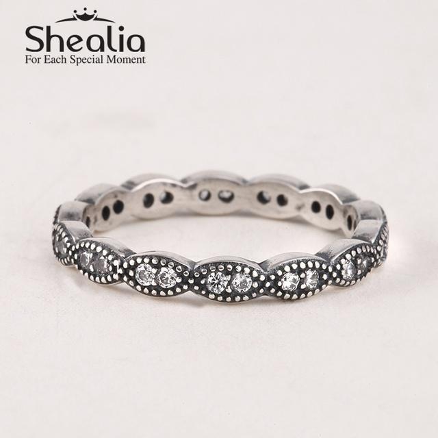 Кольца 2015 новых вымощает игристое циркон листья стерлингового серебра 925 пробы антикварные для женщин известный бренд ювелирных изделий SH0571