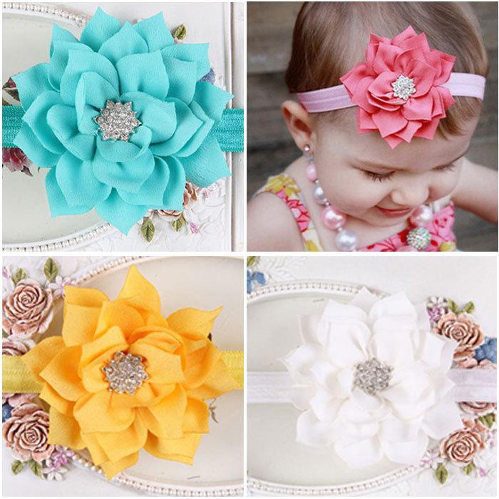 MOQ 1Pcs 12 Colors Lotus Leaf Flower Baby Headbands Rhinestone Elastic Infant Baby Girl Hair Bandage Hairband(China (Mainland))
