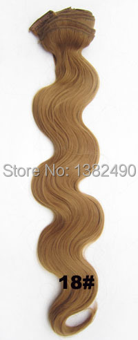 Great promotions 130gram wavy clip in on synthetic Hairpiece Extensions heat resistance New hairstyle hair extension color18#(China (Mainland))