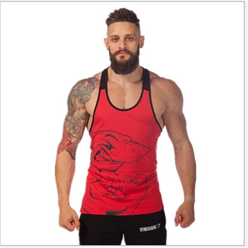 2015 100% Cotton Fitness Clothes Gym Shark Bodybuilding Stringer Tank Top Men Sleeveless Shirt Sport Tops Gymshark Fitness Vest(China (Mainland))
